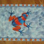 tree frog, faux blue bg